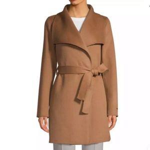 Tahari Ella Double face Wool Wrap 3/4 Coat Camel